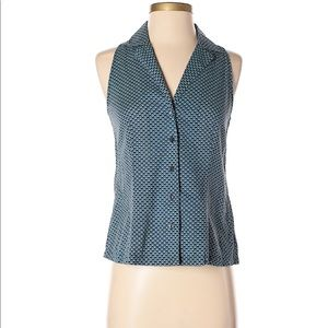 Fossil 0 Sleeveless Button down blouse blue geo